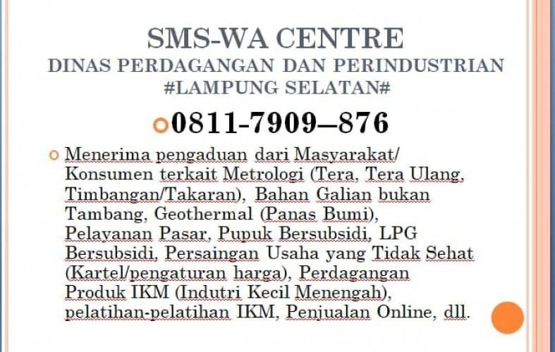 Disperindag Lamsel Buka Layanan Call Center